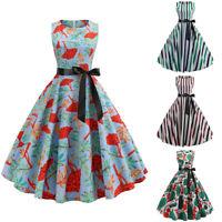Womens 50s Evening Party Floral Striped Rockabilly Bowknot Hepburn Swing Dress