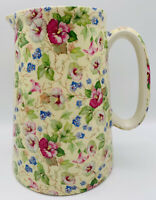 "VTG Crown B Burslem China Chintz 8"" Pitcher Jug Creamer Staffordshire England"