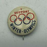 "Vintage I Support Winter Olympics 1"" Button Pin Pinback Rare  S2"