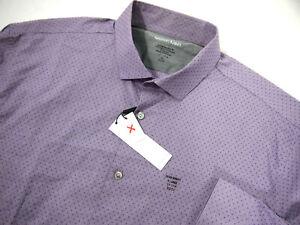 NWT Calvin Klein Mens Dress Shirt 17-17 1/2 32/33 Purple Swiss Dot Extreme Slim