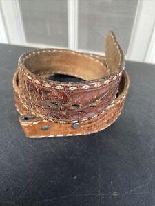 "Vintage G. J. Jedlicka Santa Barbara Handmade Leather Cowboy Belt 37"" Western"