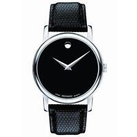 Movado 2100002 Men's Black Dial Museum Quartz Leather Strap Watch -40mm