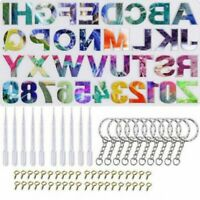 DIY Alphabet Silicone Mold Set Casting Letter Number Epoxy Resin Molds Keychains
