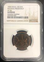 Admiral Gardner Shipwreck Coin NGC Shipwrecks - 1808 East India Co. 10CASH