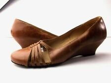Bumper wedge strappy loafer sandal mary jane size 7 crackle brown