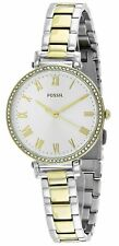 Fossil Kinsey Crystals Roman Numerals Silver Dial Two Tone Women Watch ES4449 SD