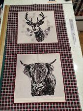 Scottish Highland Stag / Heffer Cow quilting craft 100% cotton cushion panel