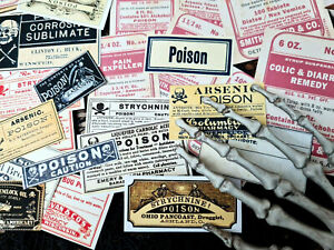 50 Vintage Poison Apothecary Labels Medical Pharmacy Poison Nurse Student Gift