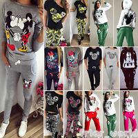 Damen Mickey Minnie Mouse Kapuzenpullover Sweatshirt Top Hosen Trainingsanzug DE