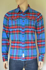 NEW Abercrombie & Fitch Lake Harris Flannel Shirt Blue & Red Plaid XXL