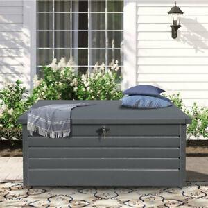 Galvanized Metal Steel Garden Cushion Tool Storage Chest Outdoor Deck Store Box