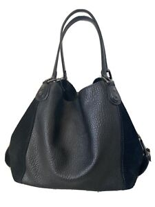 Coach Black Leather and Suede Hobo Bag