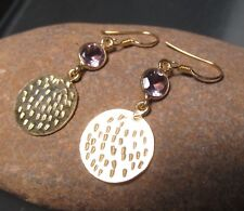 925 silver & gold plate pretty cut amethyst gemstone earrings. Gift Bag.