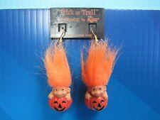 """HALLOWEEN TROLL IN PUMPKIN EARRINGS - 1"""" Russ Troll Dolls - NEW"""