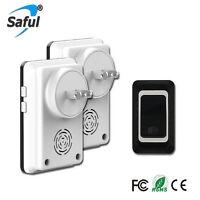 Saful Waterproof Wireless DoorBell plug w 1 Outdoor TX + 2 Indoor RX Door Bell