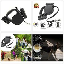 Retractable Dog Leash with Led Light Flashlight Bag Dispenser 15ft Long Dog Belt
