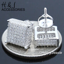 MEN 925 STERLING SILVER SQUARE 9MM ICED OUT 3D SCREW BACK STUD EARRING*E124