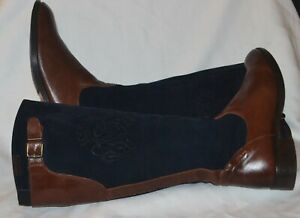 fab vintage quality spanish leather&suede riding style knee high boots 4uk-37eu