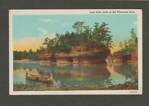VINTAGE LINEN POSTCARD USED - LONE ROCK, DELLS OF THE WISCONSIN RIVER 1948