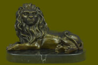 ClHot Cast Large Relaxed Lion Bronze Bookend Book End Sculpture Lost Wax Gift