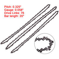 """3Pieces 20"""" Chainsaw Chain 325'' 058 76DL For Baumr-Ag SX62 Guide Bar Link Chain"""