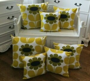 HANDMADE cushion cover Use Orla Kiely yellow sun flower  Fabric