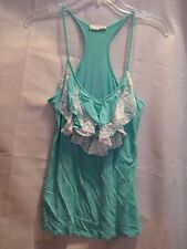 Lush Nordstrom Teal Turquoise White Lace Ruffled Racer Back Tank Top Size S