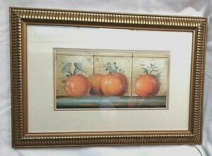 Still life art print oranges on shelf by artist Fabrice de Villeneuve framed