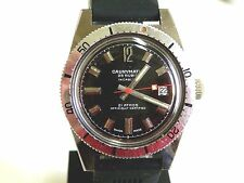 VERY RARE VINT 60s CAUNYMATIC DIVER 21 ATM AUTOMATIC 25 JEW WATCH SWISS, DATE