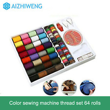 64 Rolls Sewing Machine Line thread Spool Set Bobbin Cotton Reel Needle Tape Kit