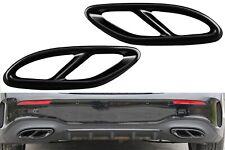 2X Schwarz Edelstahl Auspuffblende Abdeckung Satz für Mercedes W177 W205 W212 A2