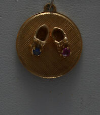 14k GOLD VINTAGE BABY SHOES WITH RUBY SAPPHIRE CHARM PENDANT