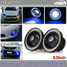 "Pair 2.5"" Car Fog Light LED Projector COB Blue Angel Eye Halo Ring Driving Bulbs"