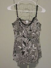 Apt. 9 Stretch Brown & Ivory Floral Polyester Button Front Cami - Juniors Size M