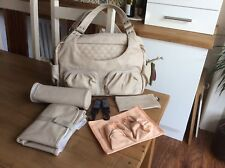 NEW Lassig Tender Multi Pocket Changing Bag, Leather Look In Nude, Peach & Grey