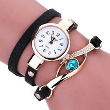 Fashion Women's Luxury Diamond Wrap Around Leatheroid Quartz Analog Wrist Watch