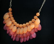 Erica Lyons Orange & Pink Drop Bubble Cluster Gold Tone Frontal Necklace New