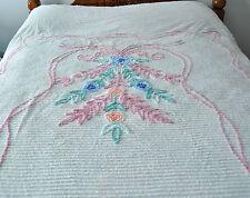 "Chenille Bedspread White Pink Blue Green Floral Lightweight 90"" x 102"" Vintage"