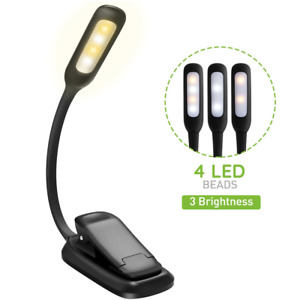 Rechargeable Book Light, TOPELEK LED Reading Light with 3-level Brightness Cool