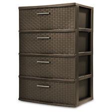 4 Drawer Wide Weave Tower Durable Plastic Indoor Home Storage Organizer Bin Box