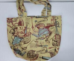 Trader Joe's Reusable Tote Bag Fearless Flyer Culinary Vintage Kitchen Print EUC