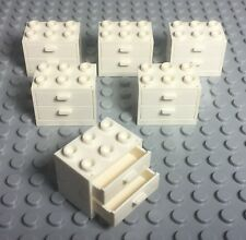Lego X6 New White Cupboard Container With Drawers / City Kitchen Garage Cabinets