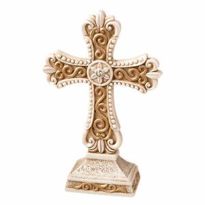 Standing Ivory Cross Statue Matte Gold Filigree Detailing Poly Resin Religion