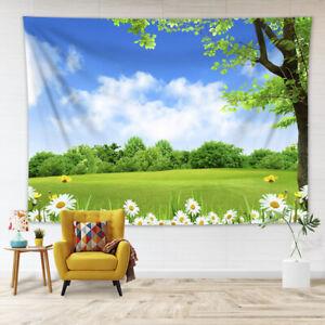 Spring Daisy Flowers Green Grass Tapestry Wall Hanging Living Room Bedroom Dorm