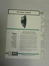 Vtg Original Altec 755E Pancake Loudspeaker Speaker Specification Sheet (A3)