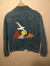 Wrangler Jean Jacket Mens L No Fault Denim Band Leather Patch Size 44 Vintage