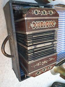 old Concertina Bandoneon Bandonion Accordion with nice inlays of MoP 16/23