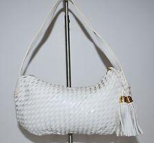 Elliot Lucca White Leather Hobo Soft Pliable Basket Weave Double Tassel Pull