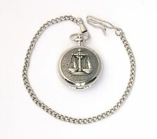 Libra Scales Pocket Watch Chrome Plated FREE ENGRAVING Birth Gift