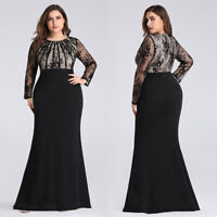Ever-Pretty Lace Long Sleeve Mermaid Evening Party Prom Gowns Dresses Plus Size